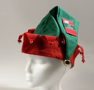 Christmas Elf Hat With Bells 16 Inches Long NEW Green and Red
