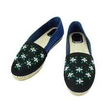 Auth Christian Dior Shoes Flats Crystal Bijou Espadrille embroidery 90012217