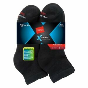 Hanes Freshiq X-temp Socks for Men, Size 6-12 - Black (10 Pack)