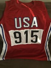CARL LEWIS Signed Autographed Team USA Olympic Track & Field Custom Jersey Leaf