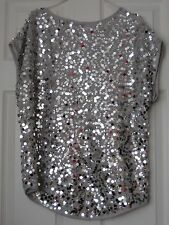 SMALL NEW BLOUSE SEQUIN SLEEVELESS SILVER ROUND NECK WD NY