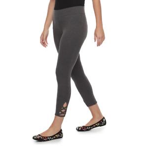 Petite SONOMA Goods for Life Crisscross Capri Leggings, Dark Grey, Black, Sizes
