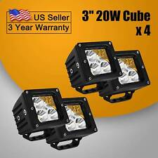 4X Projector Optic 20W 3INCH LED Cubic Pod Lights For Truck For Jeep ATV 4WD 4x4