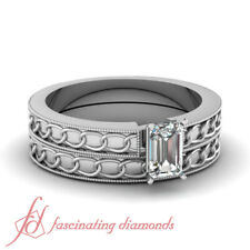 1/2 Ct Emerald Cut Engraved Solitaire Diamond Engagement Ring And Matching Band