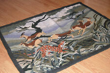SETSOTO ART Large wool hand woven African RUG TAPESTRY Leopard Chasing Buck $776