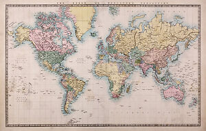Map  world  photo Framed Poster Canvas art painting  Print Vintage