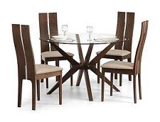 Julian Bowen Chelsea Round Dining Table Glass & Walnut & 4 Cayman Chairs
