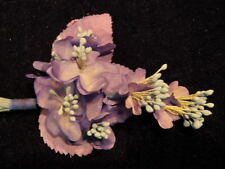 "Vintage Millinery Flower 1 1/4"" Lilac Blue BLossoms for Hat Wedding or Hair Y243"