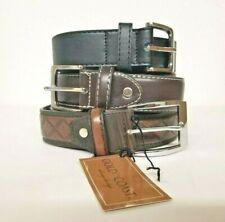"""Gold Coast Men's Set of 3 Leather Belts in Brown & Black - 44"""""""