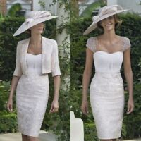 Elegant Beige Knee Length Wedding Mother Of The Bride Dresses Suits Floral Lace