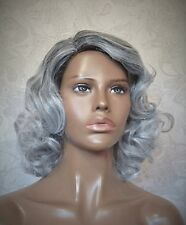 Short Wavy Curly Black/Grey Two Toned High Heat Ok Full Synthetic Wig Wigs - #61