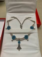 CAROLYN POLLACK AMERICAN WEST STERLING SLEEPING BEAUTY TURQUOISE SQUASH BLOSSOM