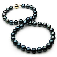 Pacific Pearls® 11-13mm Tahitian Black Pearl Necklace Gold Gifts For Best Friend