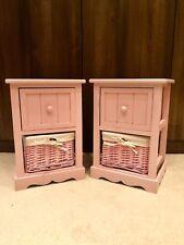 2x Pink Girls Bedside Table Cabinet Shabby Chic Wicker Basket Nightstand Bedroom