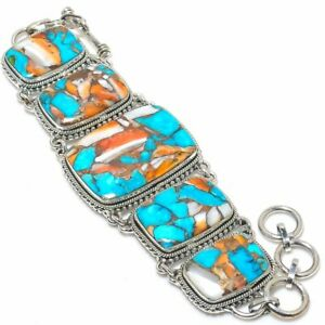 """Spiderweb Spiny Oyster Turquoise Gemstone 925 Silver Jewelry Bracelet 7-7.49"""""""
