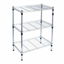 3-Tier Heavy Duty Adjustable Chrome Wire Shelving Storage Shelf System Kitchen