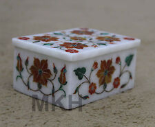 Rare Marble Jewelry Box Marquetry Handmade Inlay Work Decor Mosaic Art Gifts