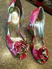 """Michaelangelo shoes size 8M Bloom floral with flower open toe """"Bloom"""""""