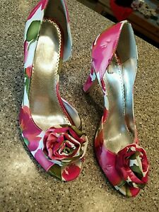 "Michaelangelo shoes size 8M Bloom floral with flower open toe ""Bloom"""