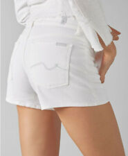7 For All Mankind Womens SHORTS PURE WHITE Jeans Crystal Squiggle Mid-Rise Sz 27