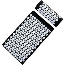 Sivan Health And Fitness Deluxe Acupressure Mat & Pillow Combo Set - Black