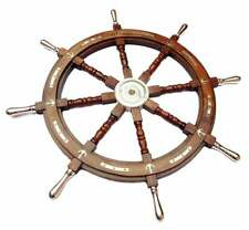 "36"" Nautical Marine Wooden Steering Ship Wheel Brass Anchor Pirate Captain Ship"