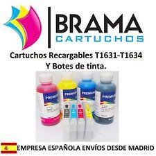 4X CARTUCHOS RECARGABLES Y 4 BOTES DE TINTA NONOEM EPSON T1631 -T1634 WF2510wf