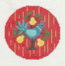 "LEE Christmas Partridge in a Pear Tree handpainted Needlepoint Canvas 3"" Rd."