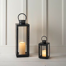 Set di 2 Black Metal Outdoor BATTERIA LANTERNE CANDELA LED Bianco Caldo Con Timer