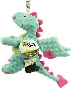 GoDog Chew Guard Technology Seafoam With Pink Accents Dragon Large Dog Toy