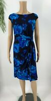 Chaps Ralph Lauren Womens Sheath Dress Size M Faux Wrap Blue Floral Jersey Knit