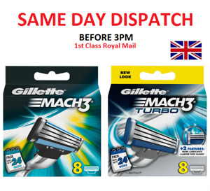 New Gillette Mach3  / Turbo 8 OR 16 Razor Blades Same Day Dispatch