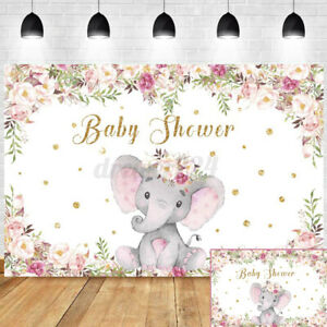 Elephant Baby Shower Birthday Party Photo Backdrop Photography Background