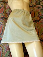 "Vintage Adonna Green Nylon A-line Mini Half Slip Petite 15"""