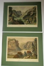 Pair of antique lithographs, Ireland, Luggelaw and Devil's Glen, Wicklow, c1860