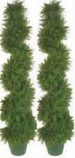 "2 Artificial Cypress Spiral 64"" Topiary Tree Outdoor UV Cedar Evergreen 5' 4"""