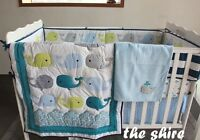 Baby Bedding Crib Cot Quilt Sheet Set-NEW 8pcs Quilt Bumpers Sheet Dust Ruffle..