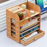 7 Layer DIY Wood Desk Top Book Shelf Rack Storage Organizer Home Office Bookcase