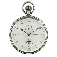 Rare ZENITH Silver Deck Marine Moonphase Pocket Watch Ship Chronometer Cal.5011K