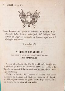 Decreto Regno d'Italia - Comune di Scafati è distaccato Collegio di Angri - 1874