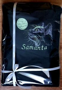 Mooncat Glow in the dark Personalised Embroidered towels Gift Birthday present
