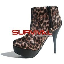 Womens Boots Size 6 7 8 Black Leopard Platform Ankle Stiletto High Heels Shoes