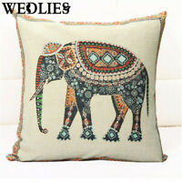 16.5'' Elephant Pillow Case Indian Knitted Cotton Linen Throw Cushion Cover Deco
