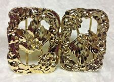 FASHION Belt Buckle FLOWERS Leaf Gold Tone 2 piece
