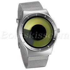 Men's Creative Stainless Steel Mesh Band Unique Vortex Dial Quartz Wrist Watch