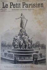 PARIS PLACE NATION MONUMENT TRIOMPHE REPUBLIQUE GRAVURE LE PETIT PARISIEN 1889