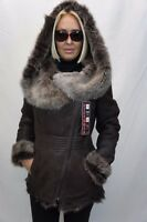 BROWN 100% Long Hair Toscana Sheepskin Shearling Leather Jacket Coat Hood XS-7XL