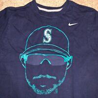 Md NIKE Ichiro Suzuki Seattle Mariners Blue Yellow Shadow Logo Shirt Sunglasses