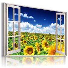 SUMMER YELLOW SUNFLOWER FIELD  3D Window View Canvas Wall Art W538 MATAGA