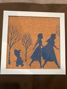 Disney's Frozen Cork Board Picture Frame, Blue New